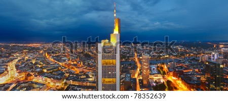 Panoramic view of Frankfurt am Main at dusk - stock photo