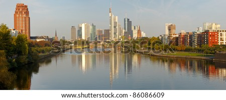 Panoramic view  of Frankfurt's Skyline reflecting in the Main River. Frankfurt is the financial center of Germany. All major German banks are headquartered in the city.