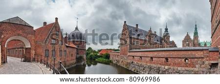 Panoramic View of Frederiksborg castle in Hillerod, Denmark - stock photo