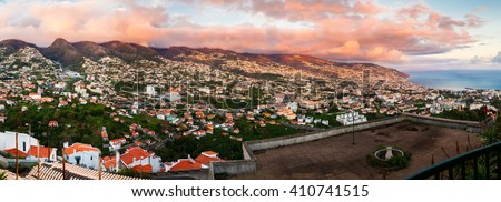 panoramic view of Funchal at sunset from Barcelos viewpoint, Madeira, Portugal - stock photo