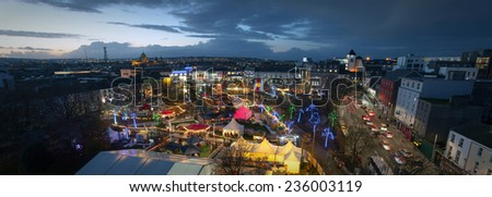 Panoramic view of Galway Continental Christmas Market at night. Ireland. - stock photo