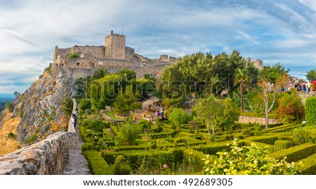 Panoramic view of Gardens and medieval castle  from Marvao, Portalegre, Alentejo Region, Portugal.