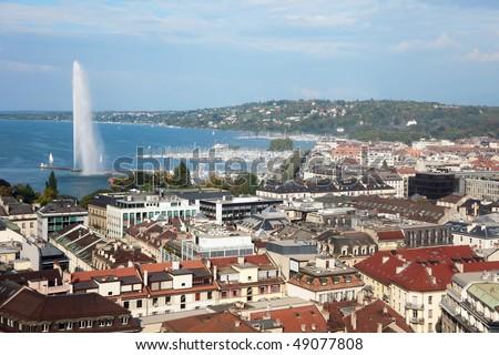 panoramic view of Geneva, Switzerland - stock photo