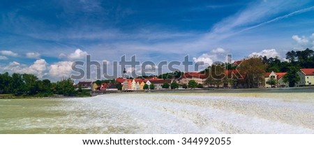 Panoramic view of German city Landsberg am Lech in sunny day - stock photo