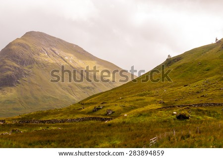 panoramic view of glencoe, scotland - stock photo