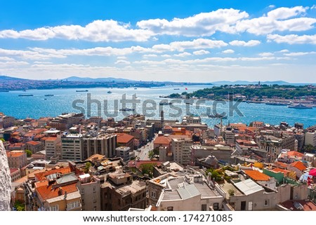 Panoramic view of Golden Horn from Galata tower, Istanbul, Turkey - stock photo