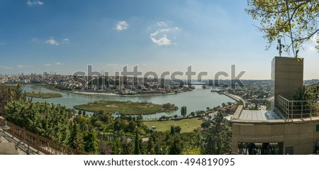 Panoramic view of Golden Horn from Pierre Loti hilltop view in Istanbul, Turkey.