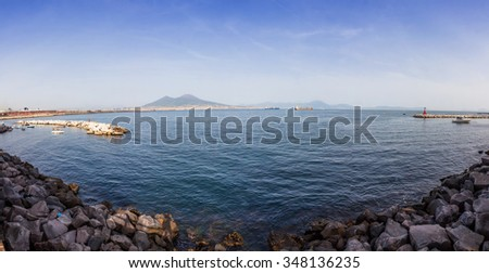 Panoramic view of Gulf of Napoli and Mount Vesuvius on the background, Naples city, Italy