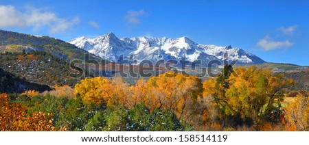 Panoramic view of Gunnison national forest in autumn - stock photo