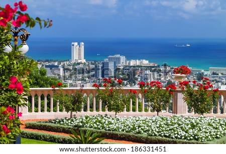 Panoramic view of Haifa, Israel, from the Bahai Temple Garden - stock photo