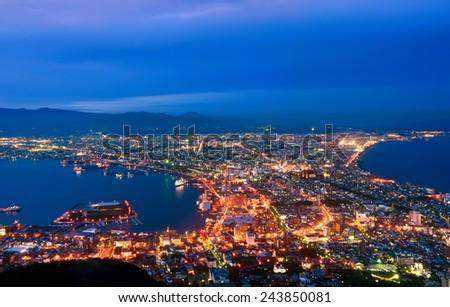 Panoramic view of Hakodate, Japan. - stock photo