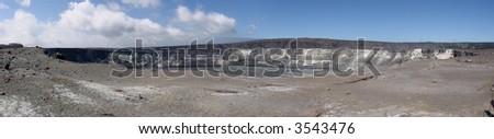 Panoramic view of Halemaumau Crater in Hawaii - stock photo