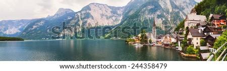Panoramic view of Hallstatt from lake Hallstater See, Austria  - stock photo