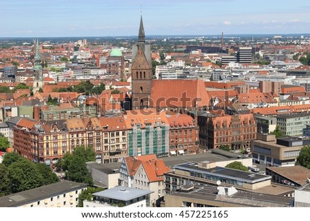 Panoramic view of Hanover, North Germany, with the Market Church. Seen from the Top of the New City Hall. - stock photo