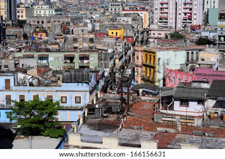 Panoramic view of Havana, Cuba. Havana is the capital city, province, major port, and leading commercial centre of Cuba. - stock photo
