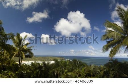 Panoramic view of Hawaiian beach from above - stock photo