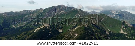 Panoramic view of high rocky mountains. National park.