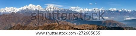 Panoramic view of himalayas range from Pikey peak - trek from Jiri Bazar to Lukla and Everest base camp - Nepal - stock photo