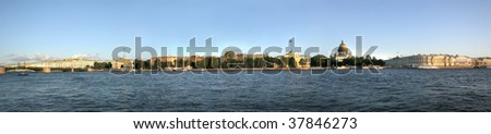 panoramic view of historic centre of Saint-Petersburg - stock photo