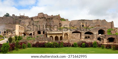 Panoramic view of Historic Golkonda fort in Hyderabad, India - stock photo