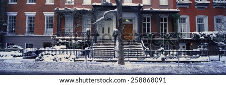 Panoramic view of historic homes and Gramercy Park, Manhattan, New York City, New York after winter snowstorm - stock photo