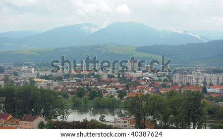 panoramic view of historic town Trencin in Slovakia
