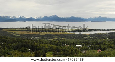 Panoramic view of Homer Alaska, showing the Homer Spit.
