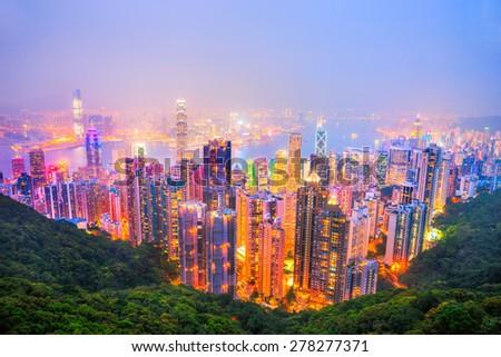 Panoramic view of Hong Kong skyline. China. - stock photo