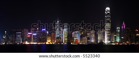 Panoramic view of hongkong harbour. Stiched from few photos. - stock photo