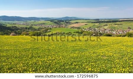 panoramic view of Horni Lidec village - Carpathiam mountains - Czech Republic  - stock photo