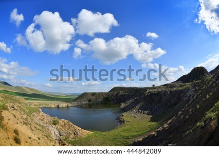 panoramic view of Iacobdeal lake in spring, Dobrogea, Romania - stock photo