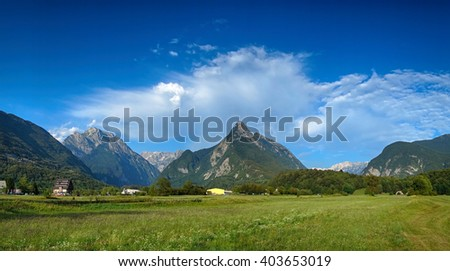 Panoramic view of idyllic mountain valley, Bovec, Slovenian Alps