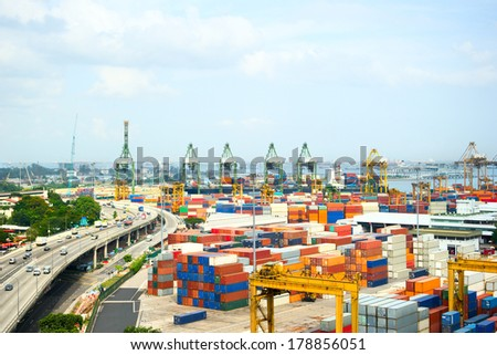 Panoramic view of industrial port of Singapore - stock photo