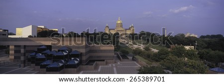 Panoramic view of Iowa State Capitol in Des Moines Iowa at dusk - stock photo