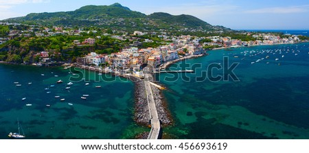 Panoramic view of Ischia town from Aragonese Castle. Ischia island, Italy.