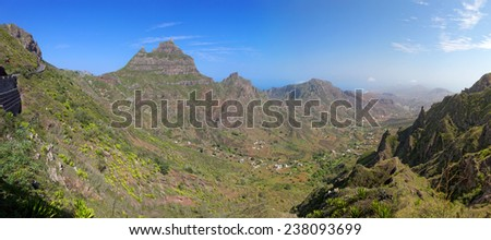 Panoramic view of island of Sao Nicolau, Cape Verde (Cabo Verde), Africa - stock photo