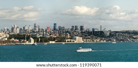 Panoramic View of Istanbul and bosphorus from Topkapi palace. - stock photo