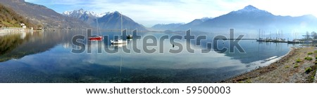 Panoramic view of Italian lake Como - stock photo