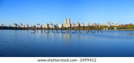 Panoramic view of Jacqueline Onassis reservoir, Central Park, Manhattan, New York