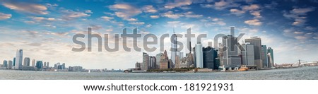 Panoramic view of Jersey City, Manhattan and Brooklyn - New York. - stock photo