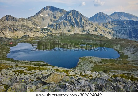 Panoramic view of Kamenitsa Peak And Tevno lake, Pirin Mountain, bulgaria - stock photo