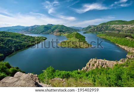 Panoramic view of Kardjali dam, Bulgaria - stock photo