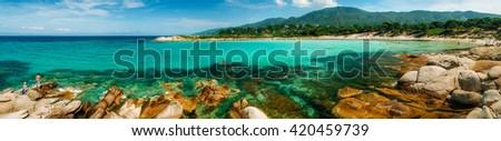 Panoramic view of Karidi beach in Vourvourou, Sithonia, Greece - stock photo