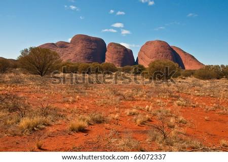 panoramic view of Kata Tjuta, australian red center - stock photo