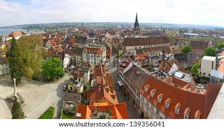 Panoramic view of Konstanz city (Germany) and Town of Kreuzlingen (Switzerland) - stock photo