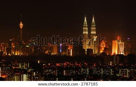 Panoramic view of Kuala Lumpur city at night - stock photo
