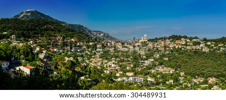 Panoramic view of La Turbie with ancient roman colonnade, France