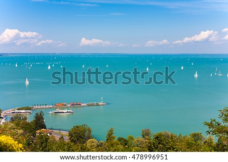 Panoramic view of Lake Balaton with sailboats from Tihany village in Hungary