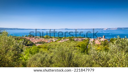 Panoramic view of Lake Bolsena (Lago di Bolsena), province of Viterbo, Lazio, central Italy - stock photo