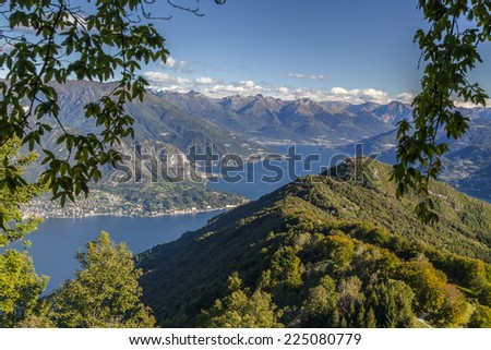 Panoramic view of Lake Como from the mountains above Bellagio - stock photo